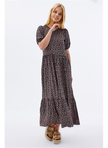Pattaya Pattaya Kadın Çiçekli Kısa Kollu Yazlık Elbise P21S201-2034 Siyah